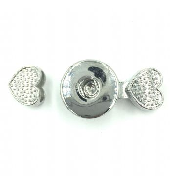 Rhodium plated heart button clasp - no button